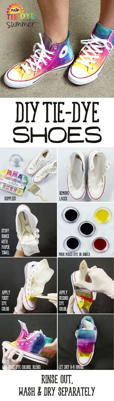 The Official Store for Tulip Tie-dye Products. Learn how to tie dye with our easy instructions and various techniques. Create all your favorite tie-dye designs with 1 kit. Diy Tie Dye Shoes, How To Dye Shoes, How To Tie Dye, Diy Tie Dye Converse, Dyed Shoes, Tye Dye, Shibori, Tie Dye Crafts, Diy Crafts