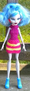 MONSTER HIGH doll dress knitting pattern - free
