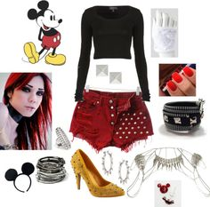 """Punk Rock Mickey Mouse Outfit"" by casey-carpenter on Polyvore"