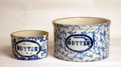 Blue spongeware butter crocks.- Like mine except mine has a top.