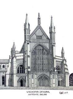 WINCHESTER CATHEDRAL - Pen and pencil drawing by Frederic Kohli of the historic cathedral in the city of Winchester, Hamshire, England. Architectural artwork.(prints available at http://frederic-kohli.artistwebsites.com)