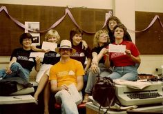 """Cedar Falls Record staffers and """"grads"""" wore Record T-shirts on Aug. 12, 1983, the final day of work."""