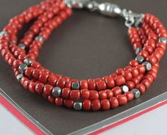 Coral Seed Bead Bracelet - perfect for summer!