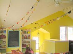Playroom. Yellow walls.