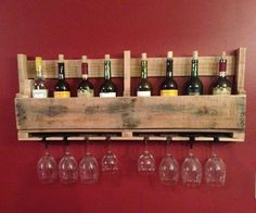 This is a simple wine rack made from the end section of a pallet. This can be made in around an hour and a half depending on what tools you use. You can make it with hand tools and a drill but is a lot easier with power tools. It's simple, easy and cheap to make, and women love them.