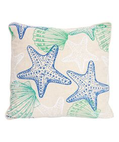 Another great find on #zulily! White & Blue Seashell Pillow by DEI #zulilyfinds