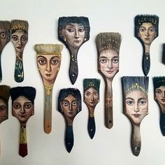 Recycled Art: Los Angeles-based surrealist Alexandra Dillon turns worn-out objects like paint brushes, axes, etc. into unique painting canvases. Paint Brush Art, Paint Brushes, Assemblage Kunst, Art Altéré, Art Populaire, Classic Portraits, Junk Art, Recycled Art, Art Plastique