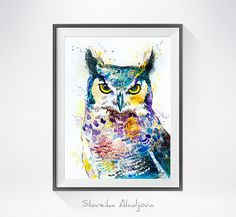 Original Watercolour Painting- Horned Owl art, animal, illustration, animal watercolor, animals paintings, animals, portrait,