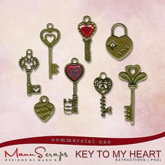 CU Key To My Heart | CU/Commercial Use #digital #scrapbook design tools at CUDigitals.com #digitalscrapbooking