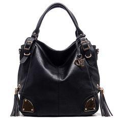 Black faux leather handbag with side tassels