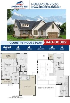 If you love the Country design, you're going to love Plan 940-00382 offering 2,323 sq. ft., 3 bedrooms, 2.5 bathrooms, a loft, a kitchen island and front & rear porches. Learn more about our Country designs on or website. Best House Plans, Country House Plans, Floor Plan Drawing, Stair Detail, Cost To Build, Dormer Windows, House Stairs, Build Your Dream Home, Building Materials