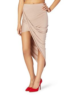 image of Asymmetrical Drape Midi Skirt