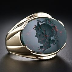 Intaglio Bloodstone Gent's Ring - 30-1-4992 - Lang Antiques
