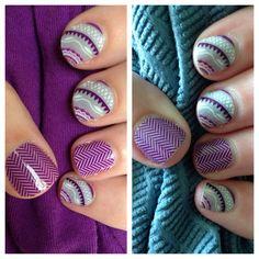 Day 1 and Day 7 of my Jamberry manicure! Wisteria and Purple Herringbone! www.sarao.jamberrynails.net