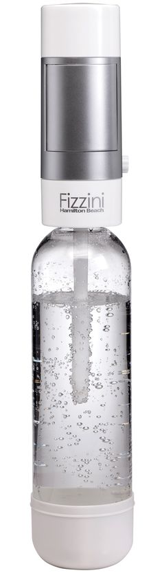 The Hamilton Beach 85101 Fizzini Hand-held Carbonated Water Maker attaches to the top of an included one-liter bottle. A simple twist of the unit carbonates the beverage inside.