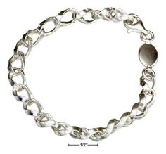 """Sterling Silver 8"""" Italian Twisted Charm Link Bracelet"""