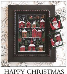 Prairie Schooler Happy Christmas - Cross Stitch Pattern. Model stitched on 18 Ct. Black Aida with DMC floss. Stitch Count: 135H x 99W.