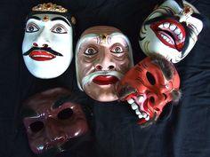 Topeng Pajegan masks Materials: Painted wood and hair Location: Bali