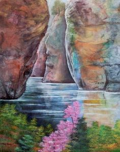 Mable Rocks by Ming Franz splash Ink with Watercolor ~ 34 x 28