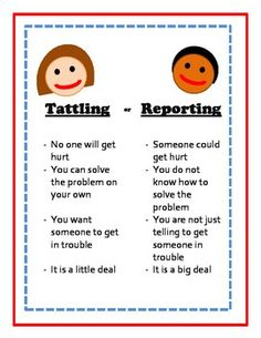 Tattling or Reporting Free printable- includes scenario cards