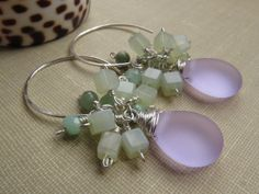 Matte Glass Teardrop, Semiprecious Stone Cluster Earrings, Lilac Glass & Light Green Jade Dangle, Springtime Earrings