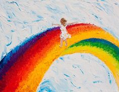 """SOLD 11""""x 14""""(28cm x 36cm), """"Flying Free"""", Oil on Canvas Palette Knife Painting by Colors Of Cynthia Christine As it came time to title this piece.....really, the word that kept coming was ...""""flying"""".....I just LOVED the feeling on being there on top of that rainbow lost in the clouds, the wind blowing all around me, time standing still, and as free as a bird!"""