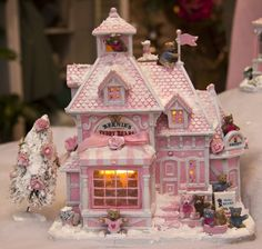 All pink delightful Christmas house. Lights up inside, and has plenty of additional features like snow, tree's teady bear's. Shabby Chic Christmas, Victorian Christmas, Pink Christmas, Vintage Christmas, Christmas Holidays, Christmas Crafts, Christmas Decorations, Christmas Ornaments, Holiday Decor