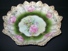 VINTAGE Porcelain Bowl Roses and Gold Trim R.S. Prussia from ruthsantiques on Ruby Lane