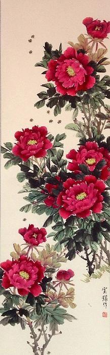 Beautiful red peony