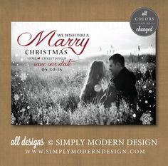 Marry Christmas, Merry Christmas, Save the Date, Christmas Card, Wedding     www.simplymoderndesign.com
