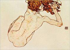 Egon Schiele - Crouching nude, back view Body Drawing, Anatomy Drawing, Life Drawing, Inspirational Wall Art, Vintage Artwork, Gustav Klimt, Fantastic Art, Graphic Design Illustration, Gouache