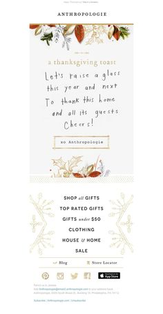 Anthropologie - Thanksgiving 2015 SL: Say this tonight.