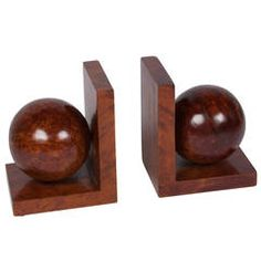 Burl Wood Sphere Bookends, Pair, French, circa 1940