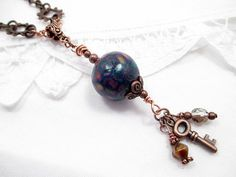 Copper Metal Lariat Necklace Beaded Jewelry by LittleBitsOFaith, $30.00