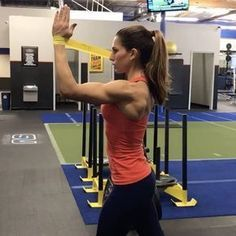 12-15 reps of each weighted exercise 40-60seconds of each Miniband 3-5 rounds 1. DB outward pushback and shoulder press 2. mini band fly 3. tricep dip 4. mini band tricep stretch 5. scheibe push out and twist like driving 6. miniband hands out front and 4 oclock diagonal kickback 7. scheibe pushdown and lift up to 90 degrees with elbows out 8. miniband pushdown front and then up to 90 degrees with elbows back