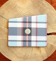 NEW Red & Multi Blue Plaid Wooden Pocket Square by Baffi | $40 | Red and multi blue plaid pattern printed on baltic birch wood. Hand crafted, and easy to wear. | GOTSTYLE.CA