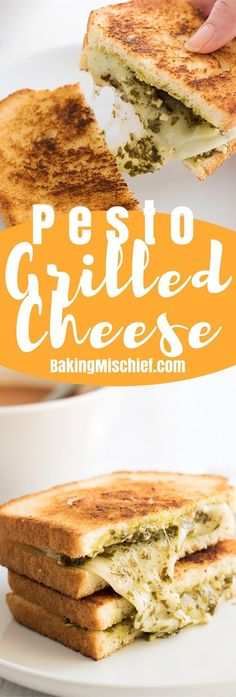 Class up your grilled cheese game with this super easy Pesto Grilled Cheese Sandwich! | Recipes for One | Lunch Recipes |