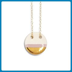 Bush Pink and Gold Circle Necklace, Handmade Gold and Porcelain Circle Necklace - Wedding nacklaces (*Amazon Partner-Link)