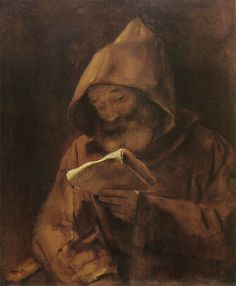 Rembrandt van Rijn, A Monk Reading on ArtStack #rembrandt #art