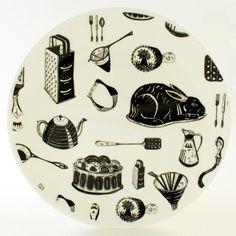 emily maude - Bone China Screenprinted plate featuring nostalgic items of kitchenalia.