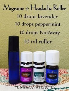 (YL PanAway = doTerra Deep Blue) Migraine and headache roller using Peppermint, PanAway and Lavender oils. All included in the Young Living premium starter kit. Essential Oils For Migraines, Yl Essential Oils, Essential Oil Diffuser Blends, Young Living Essential Oils, Yl Oils, Migraine Essential Oil Blend, Essential Oil Bug Spray, Homemade Essential Oils, Aromatherapy Diffuser