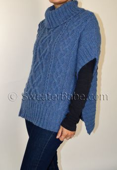 Sweater front and back, put on neck and do ribbing up the sides