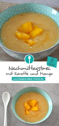 Rezept für Nachmittagsbrei mit Gemüse: Karotte und Mango passen nämlich ganz wunderbar zusammen. Der Babybrei ist für Babys ab dem 7.Monat geeignet.