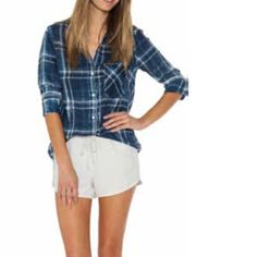 "🍃💕Plaid Distressed Wash Button Down Shirt Gorgeous lightweight ultra comfortable shirttail hemline button down in 100% easy care Tencel in Cape Town distressed wash. Fit is typical Anthro sizing slightly oversized available in S-M-L. Model 5'10"" wearing a small. Measurements approximate. Small pit to pit 20.5"", top of collar to front hem 28"", rear hem 31.5"". Classic styling, quality made in the USA. You will love the look and feel! No trades ever. Anthropologie Tops Button Down Shirts"