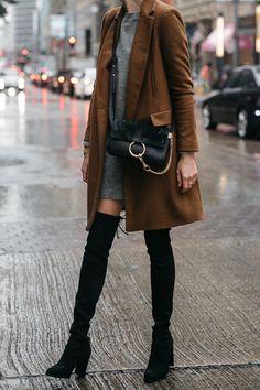 f177003b4759 Zara Camel Wool Coat Topshop Grey Sweater Dress Chloe Faye Handbag Stuart  Weitzman Black Over the