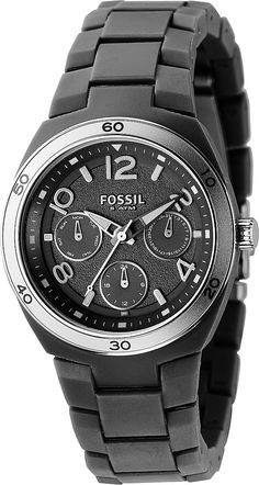 Fossil Women's ES2519 Black Soft-Touch Plastic Bracelet Black Analog Dial Multifunction Watch