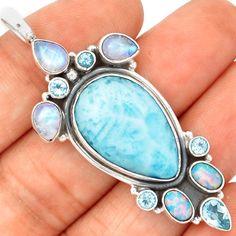 Larimar-Dominican-Republic-925-Sterling-Silver-Pendant-Jewelry-SP182317