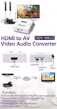 HDV-M610 HDMI to AV Video Audio Converter - White - Free Shipping - DealExtreme