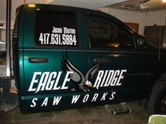 The first Eagle Ridge truck! We miss this guy! Thanks to our friend Brandon Pennington for the vinyl graphics. Chainsaw Carvings, Special Events, Truck, Eagle, Guy, Graphics, Business, Graphic Design, Trucks
