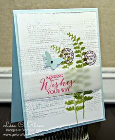 Get Crafty with Lisa:  Sending Wishes Your Way. Features Stampin' Up!'s Butterfly Basics Stamp Set, Dictionary Stamp Set, and Bitty Butterfly Punch, by Lisa Rhine